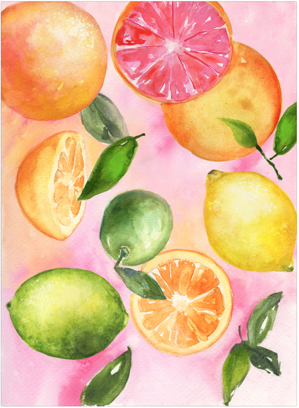 citrus art print by watercolor artist, Caryn Dahm