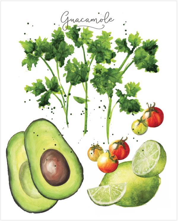 guacamole art print in watercolors
