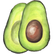 guacamole watercolor culinary art by Caryn Dahm