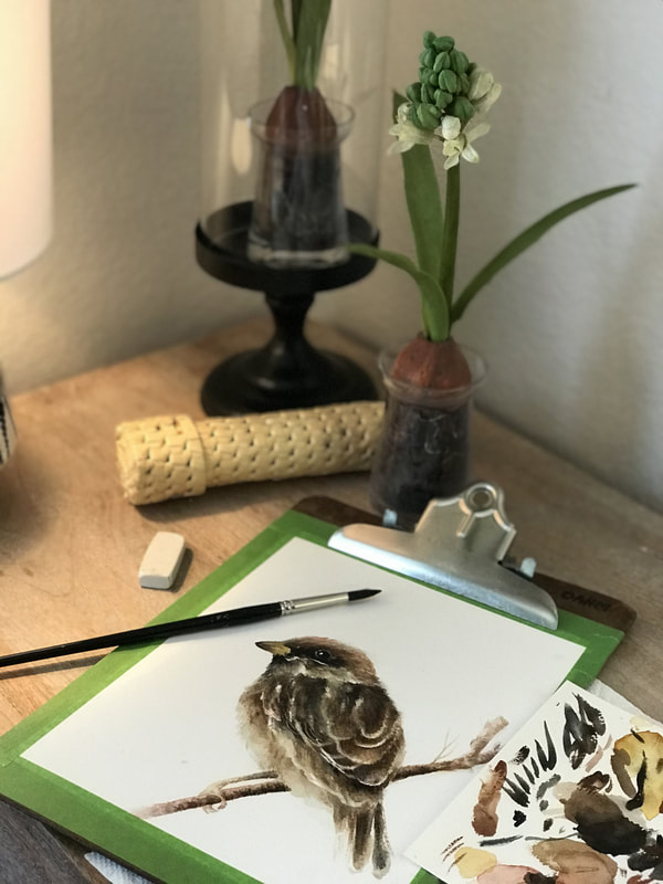 Watercolored sparrow painting by Caryn Dahm