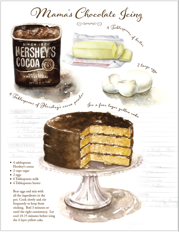illustrated cake recipe by Caryn Dahm