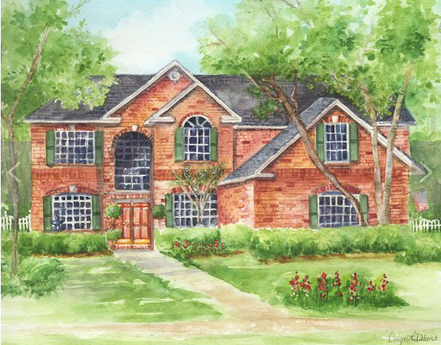 custom home portraits in watercolor by Caryn Dahm