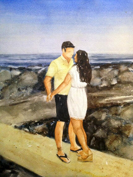Custom watercolor art created as wedding gift
