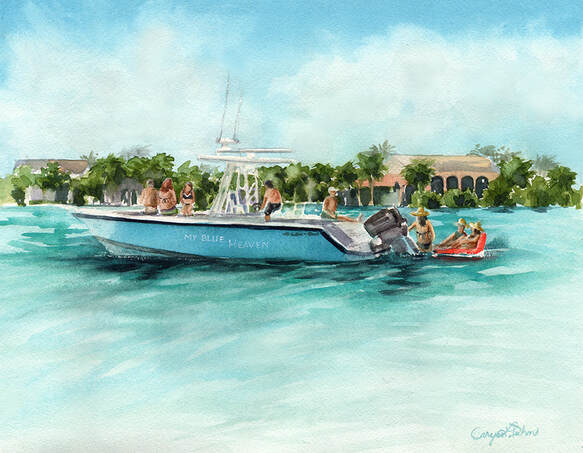 Custom boat painting by Caryn Dahm