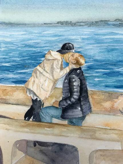Custom watercolor art made of engagement photos